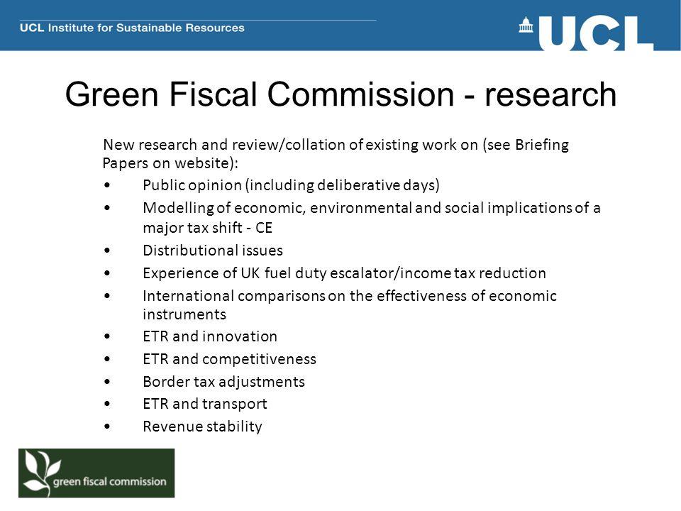 Green Fiscal Commission - research