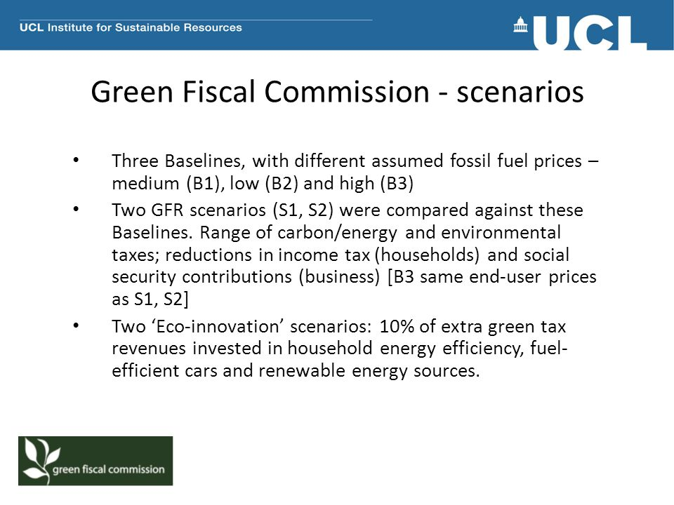 Green Fiscal Commission - scenarios