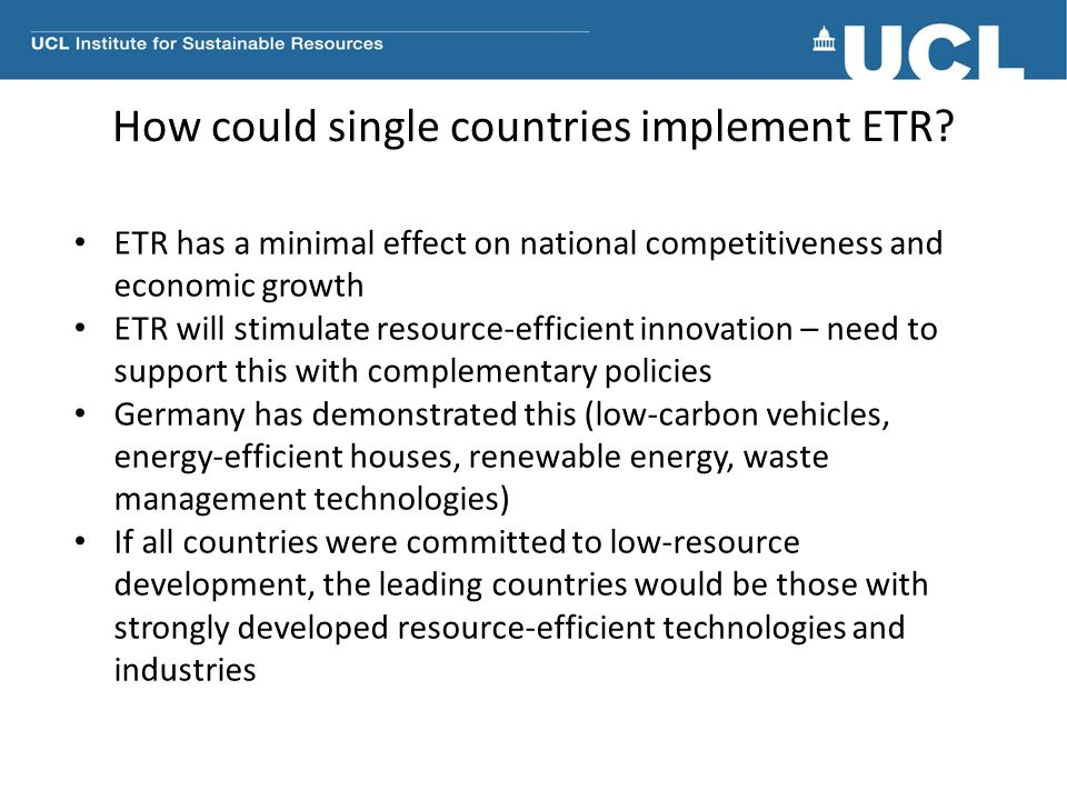 How could single countries implement ETR