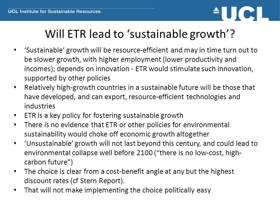 Will ETR lead to 'sustainable growth'