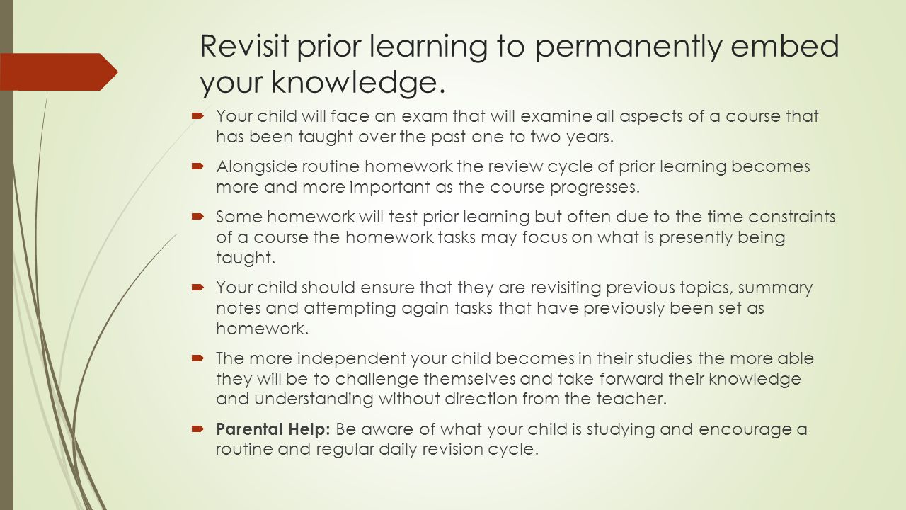 Revisit prior learning to permanently embed your knowledge.