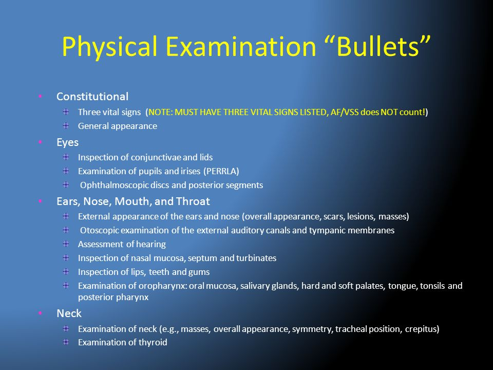 Physical Examination Bullets