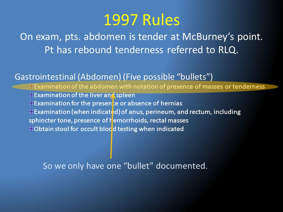 1997 Rules On exam, pts. abdomen is tender at McBurney's point