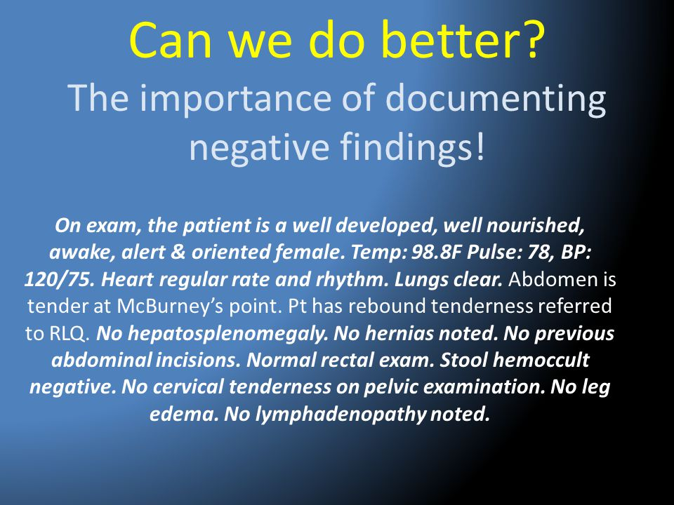 Can we do better The importance of documenting negative findings!