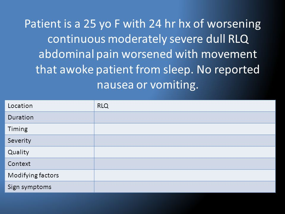 Patient is a 25 yo F with 24 hr hx of worsening continuous moderately severe dull RLQ abdominal pain worsened with movement that awoke patient from sleep. No reported nausea or vomiting.