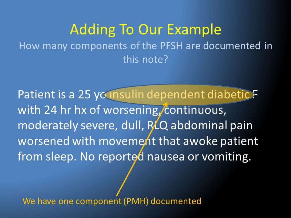 Adding To Our Example How many components of the PFSH are documented in this note