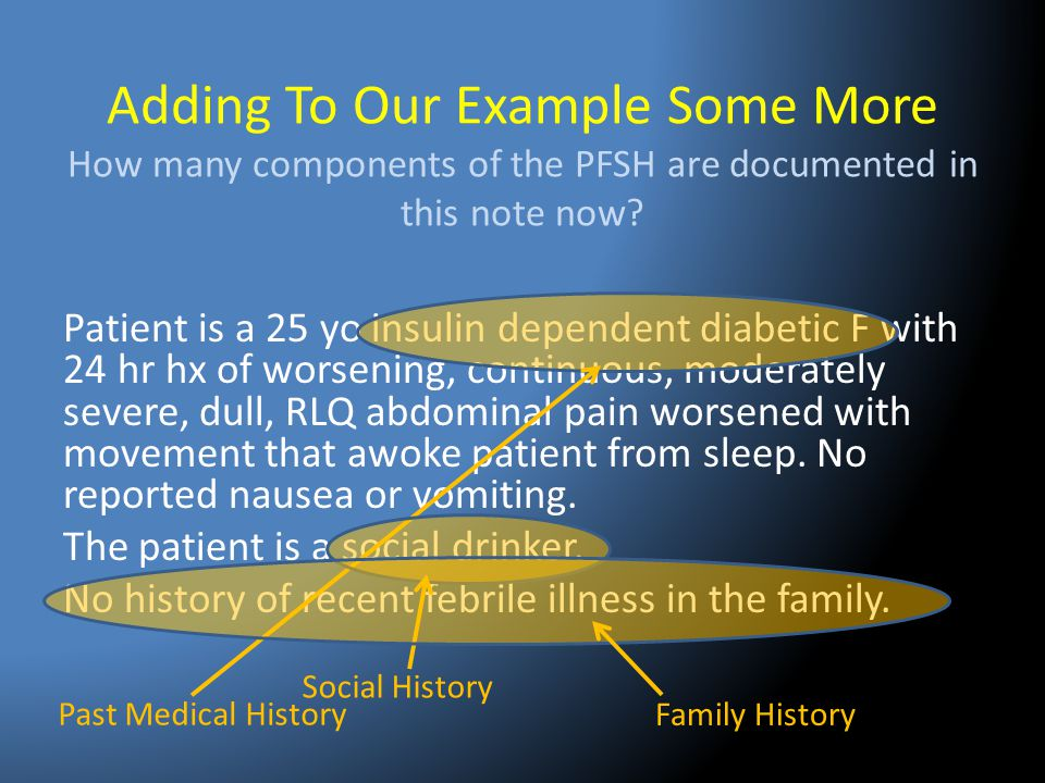 Adding To Our Example Some More How many components of the PFSH are documented in this note now