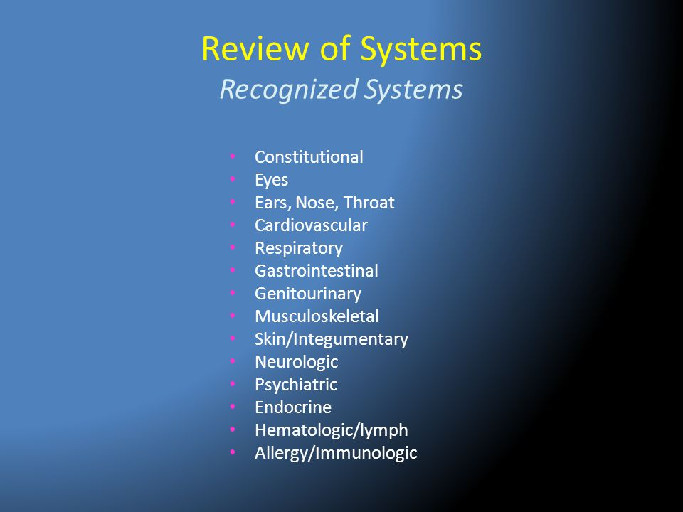 Review of Systems Recognized Systems