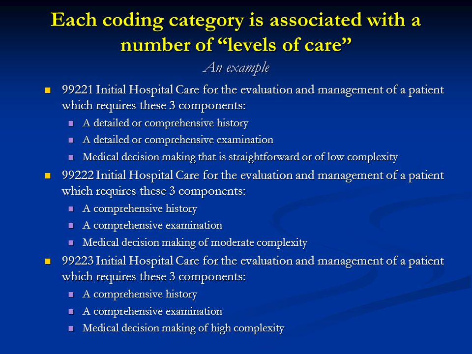 Each coding category is associated with a number of levels of care An example
