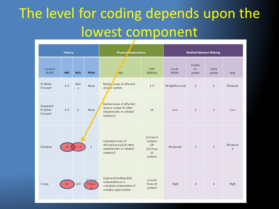 The level for coding depends upon the lowest component