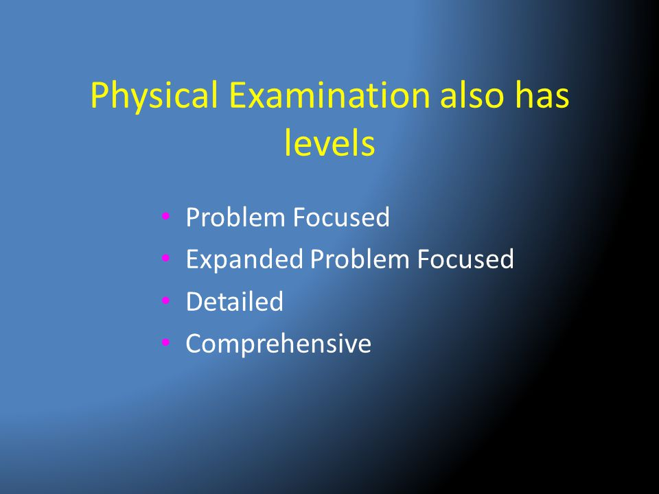 Physical Examination also has levels