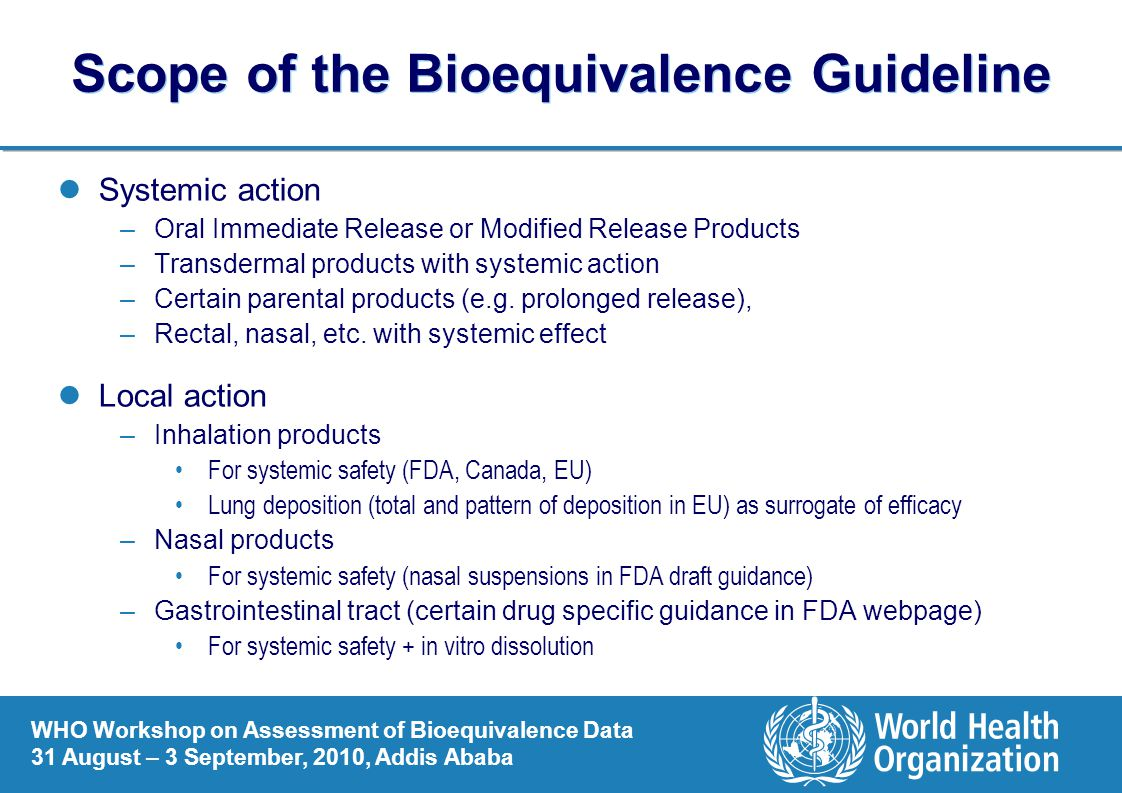 Scope of the Bioequivalence Guideline