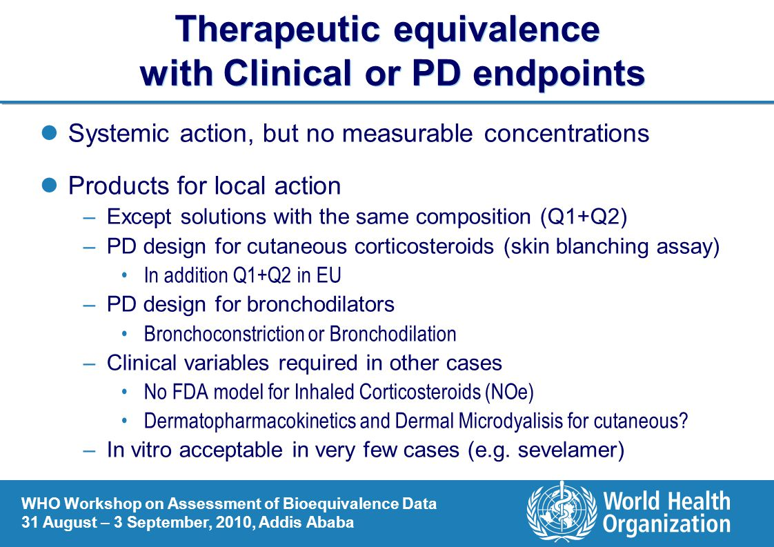 Therapeutic equivalence with Clinical or PD endpoints