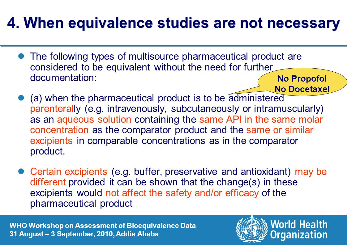 4. When equivalence studies are not necessary