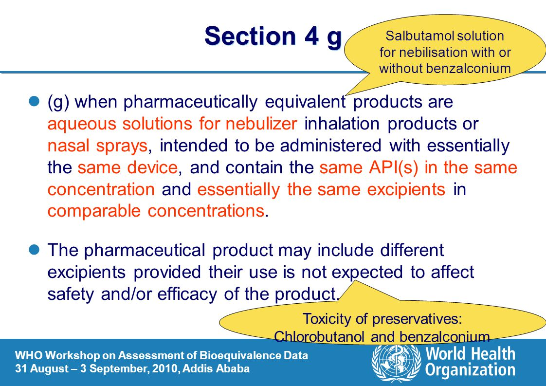 Section 4 g Salbutamol solution for nebilisation with or without benzalconium.
