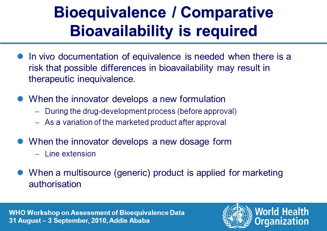 Bioequivalence / Comparative Bioavailability is required
