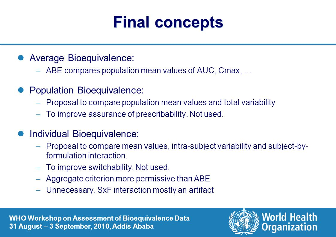 Final concepts Average Bioequivalence: Population Bioequivalence: