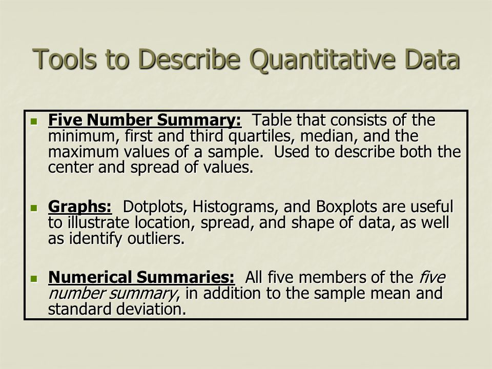 Tools to Describe Quantitative Data