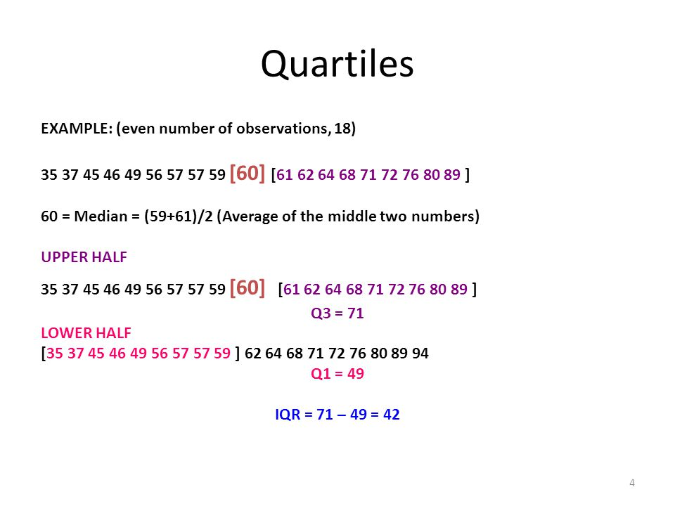 Quartiles EXAMPLE: (even number of observations, 18)