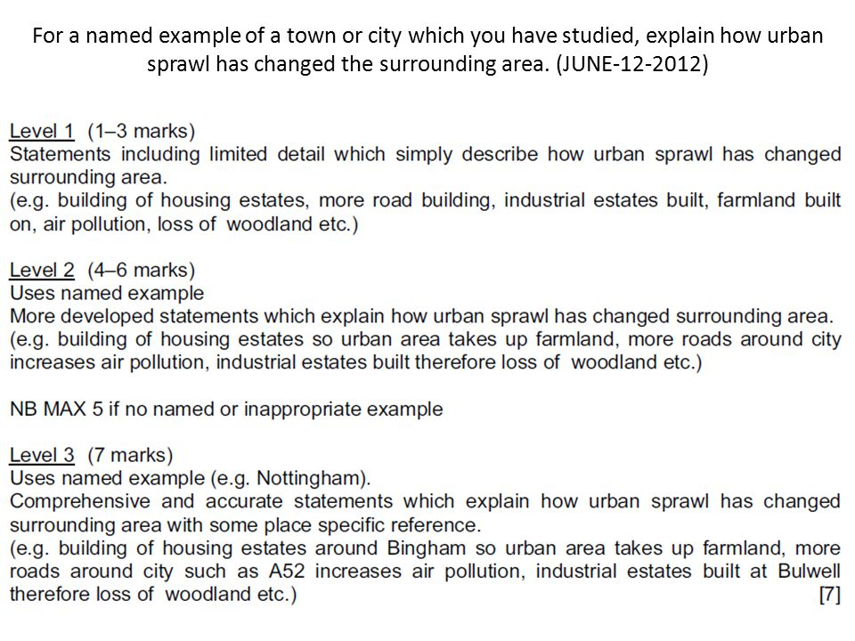 For a named example of a town or city which you have studied, explain how urban sprawl has changed the surrounding area. (JUNE )