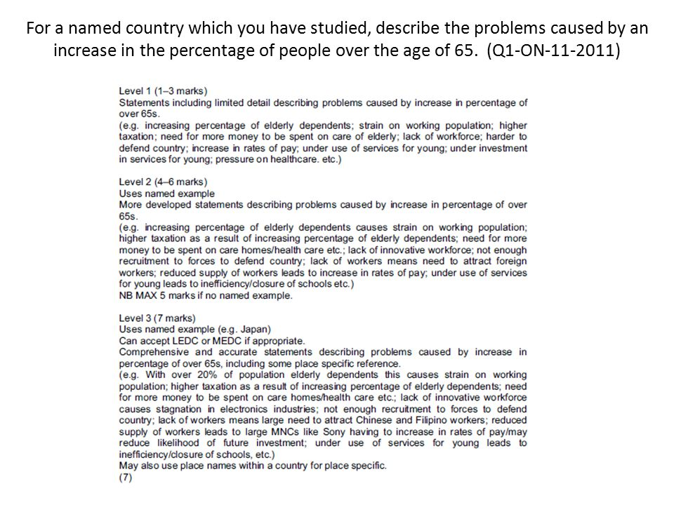 For a named country which you have studied, describe the problems caused by an increase in the percentage of people over the age of 65. (Q1-ON )