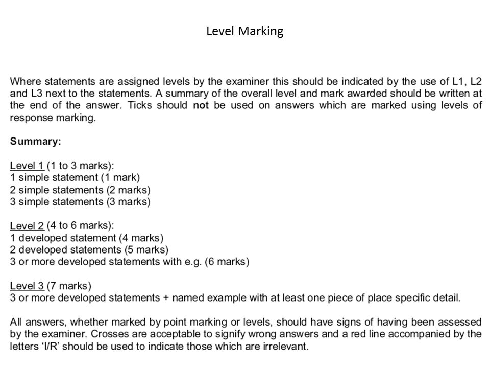 Level Marking Q2 11 MAY 2010