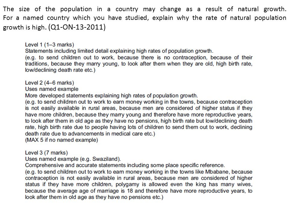The size of the population in a country may change as a result of natural growth. For a named country which you have studied, explain why the rate of natural population growth is high. (Q1-ON )