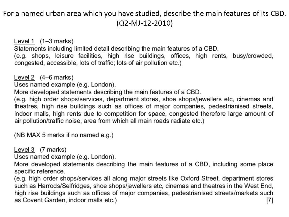 For a named urban area which you have studied, describe the main features of its CBD.