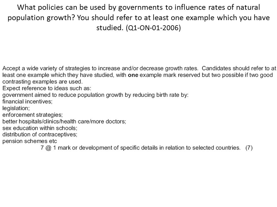 What policies can be used by governments to influence rates of natural population growth.