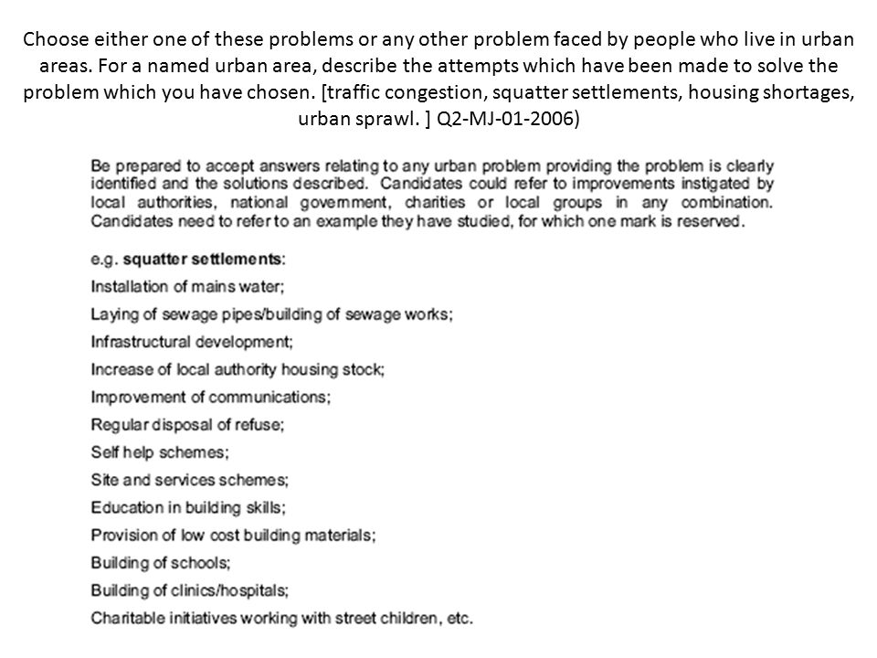 Choose either one of these problems or any other problem faced by people who live in urban areas.