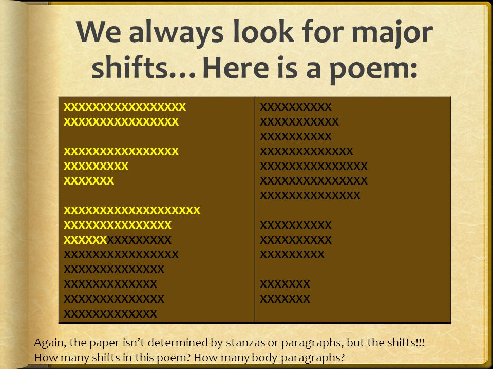 We always look for major shifts…Here is a poem: