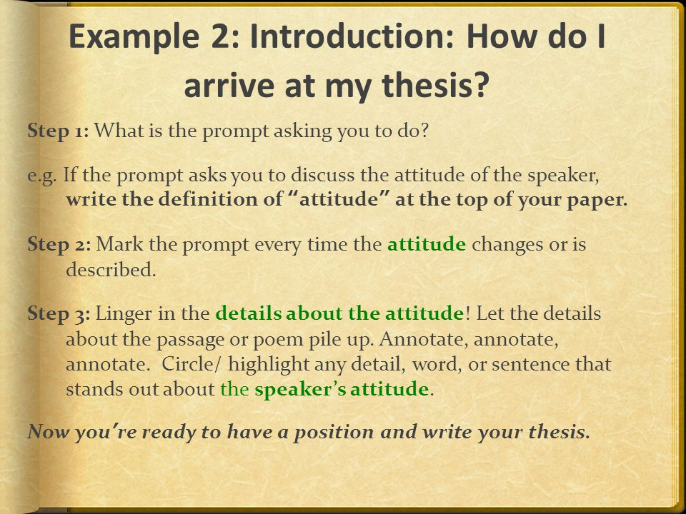 Example 2: Introduction: How do I arrive at my thesis