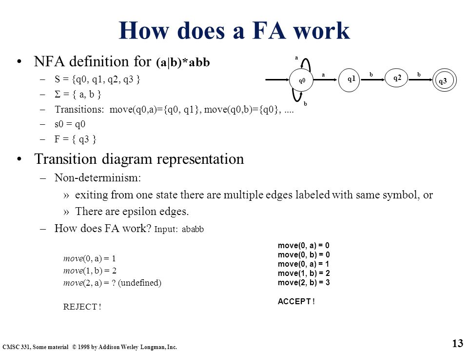 How does a FA work NFA definition for (a|b)*abb