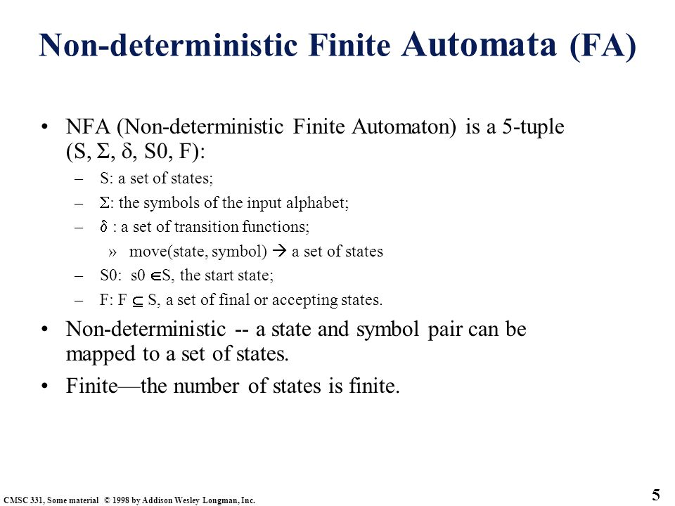 Non-deterministic Finite Automata (FA)