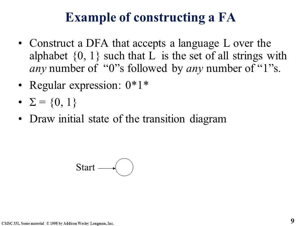 Example of constructing a FA