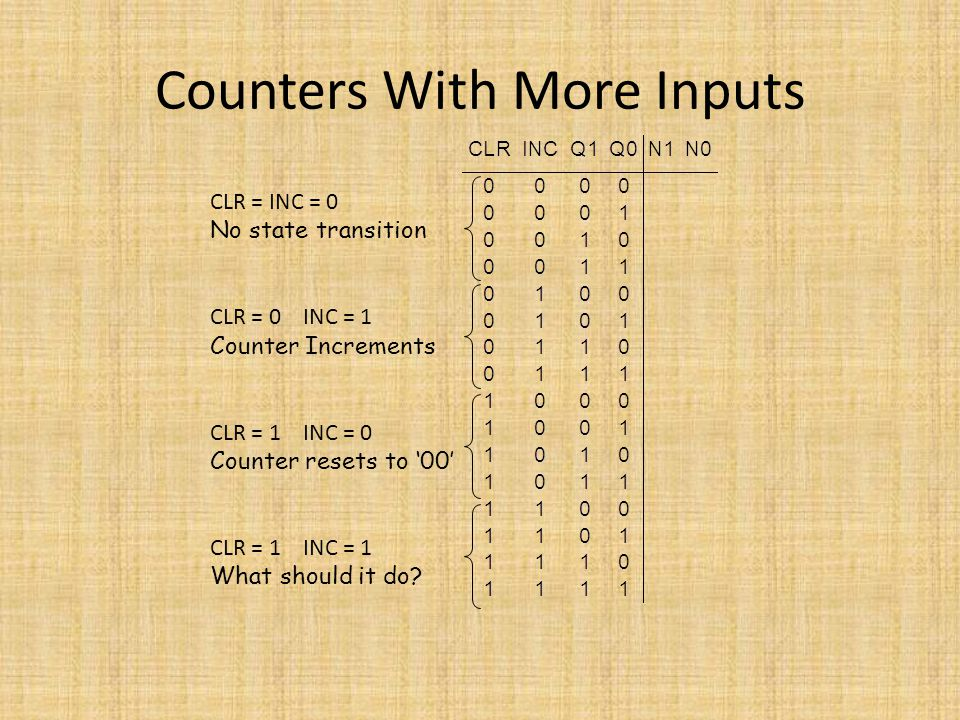 Counters With More Inputs