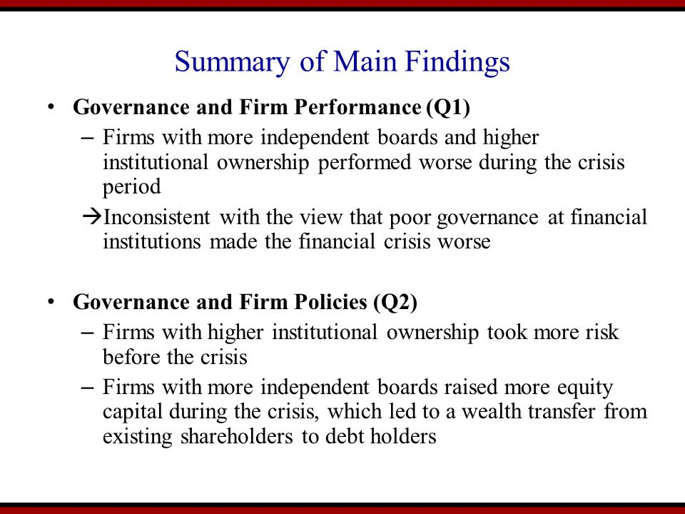 Summary of Main Findings