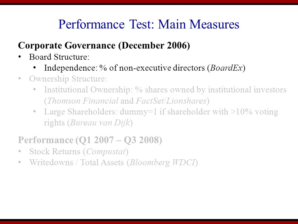 Performance Test: Main Measures