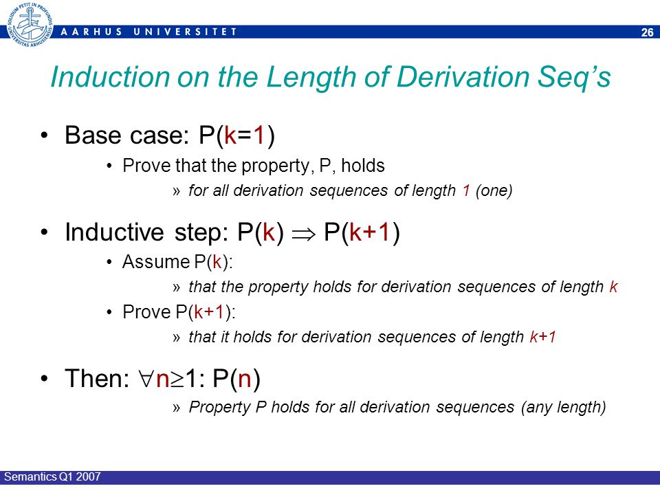 Induction on the Length of Derivation Seq's
