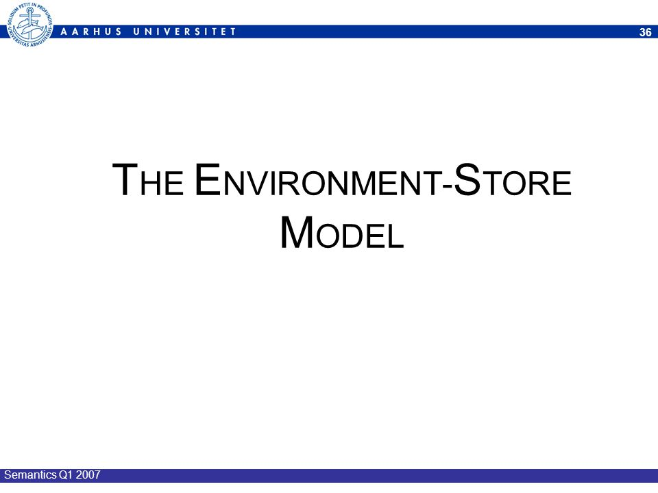 THE ENVIRONMENT-STORE MODEL