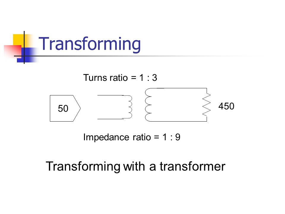 Transforming Transforming with a transformer Turns ratio = 1 : 3 50