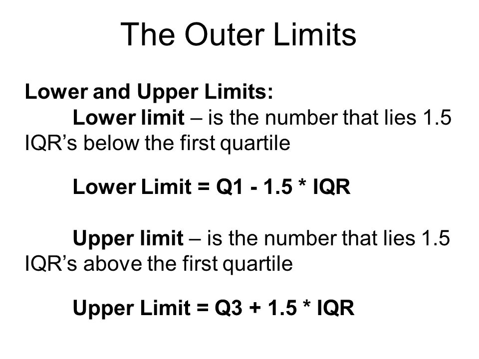 The Outer Limits Lower and Upper Limits: