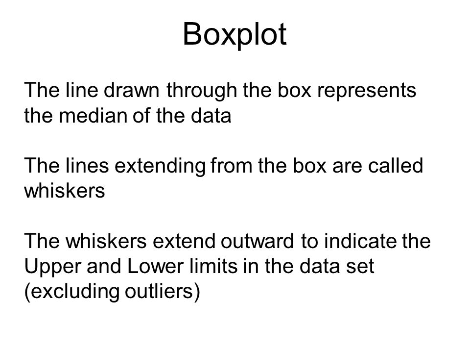 Boxplot The line drawn through the box represents the median of the data. The lines extending from the box are called whiskers.