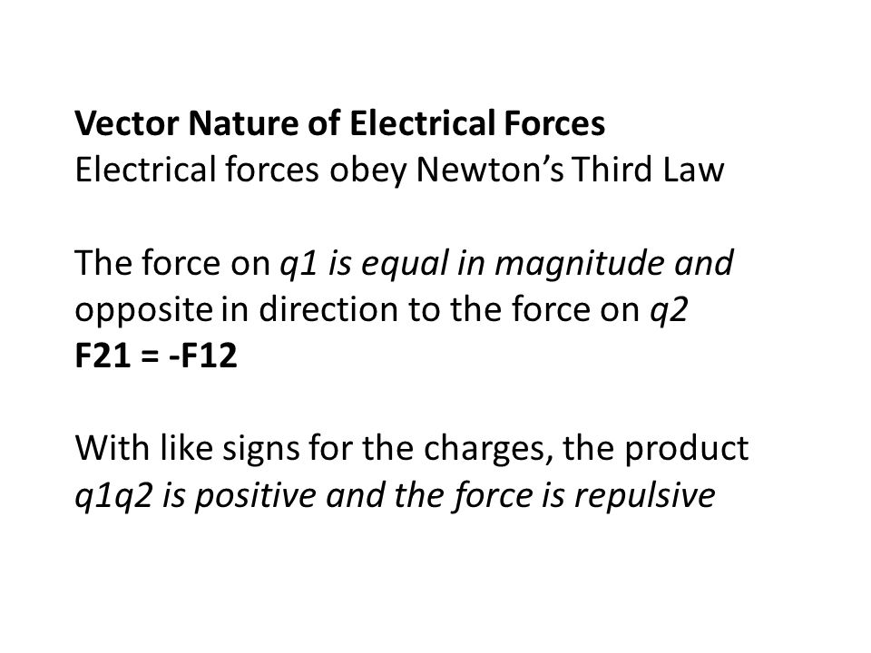 Vector Nature of Electrical Forces