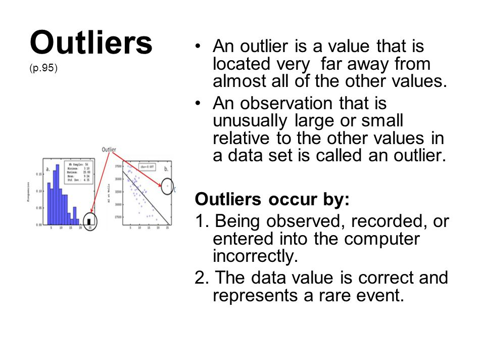 Outliers (p.95) An outlier is a value that is located very far away from almost all of the other values.