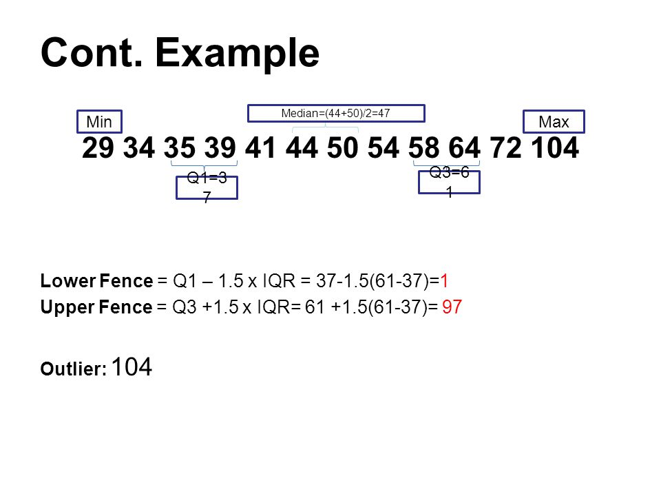 Cont. Example 29 34 35 39 41 44 50 54 58 64 72 104. Lower Fence = Q1 – 1.5 x IQR = 37-1.5(61-37)=1.
