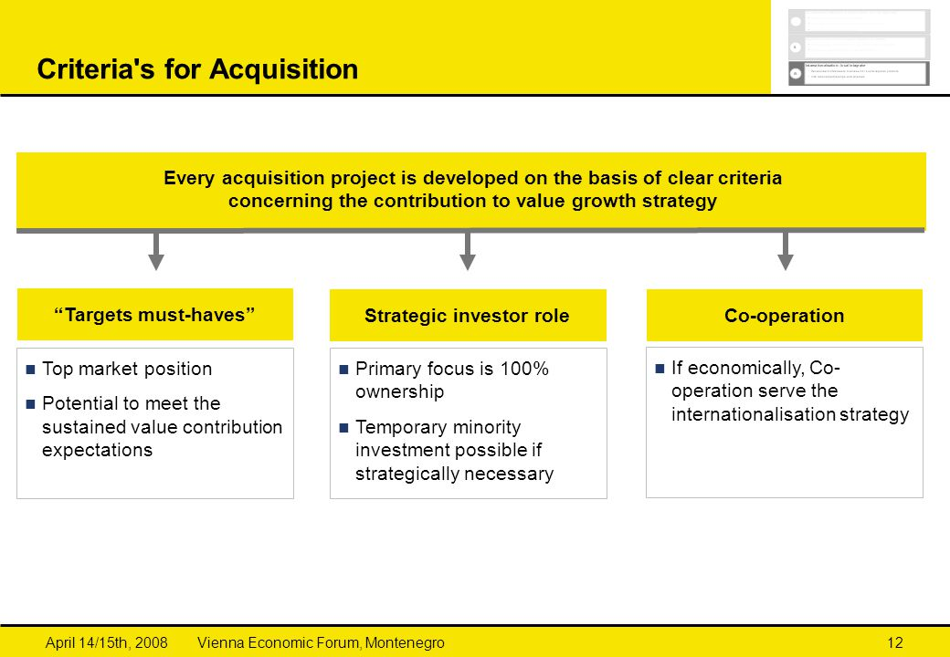 Criteria s for Acquisition