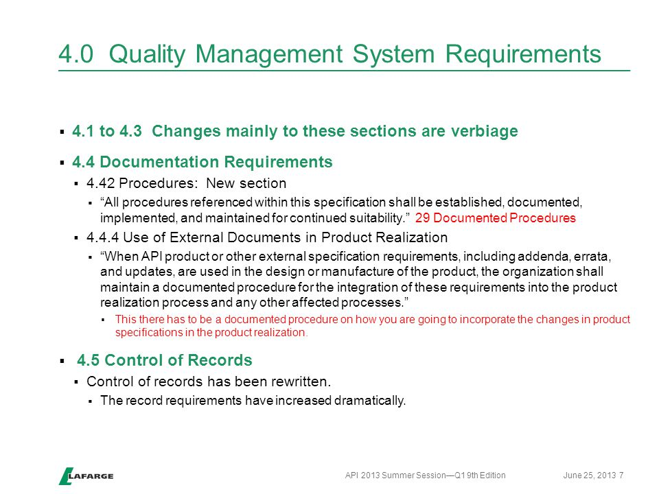 4.0 Quality Management System Requirements