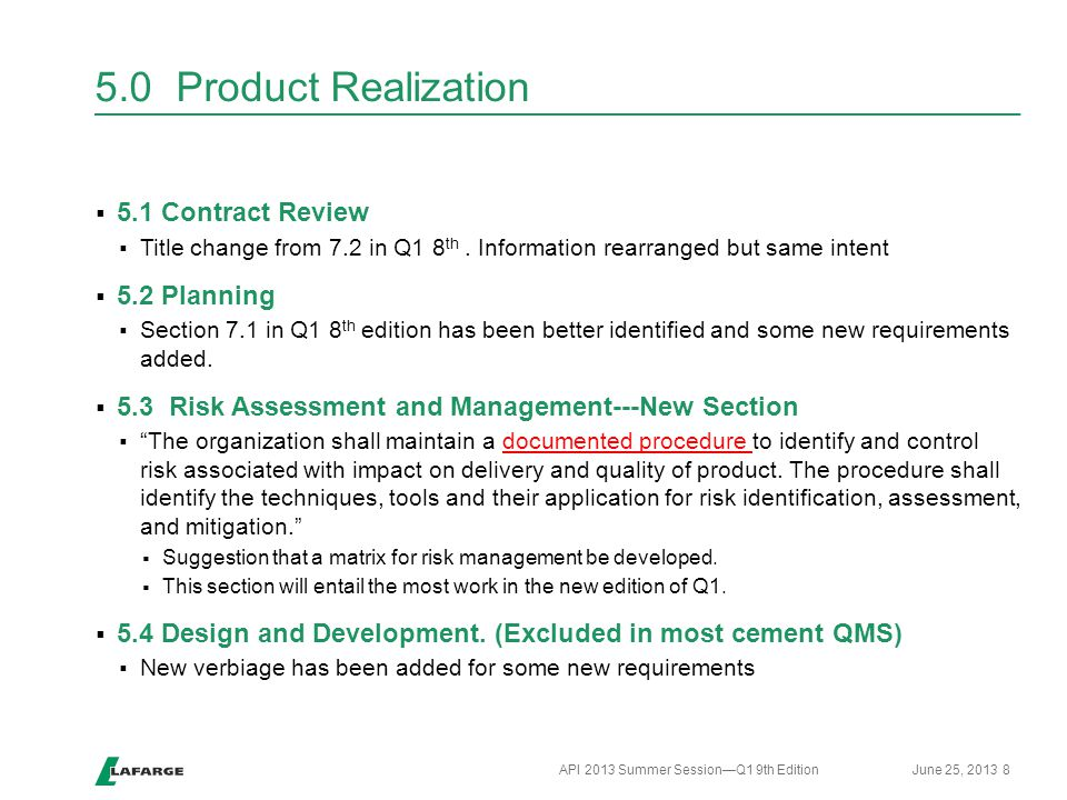 5.0 Product Realization 5.1 Contract Review 5.2 Planning