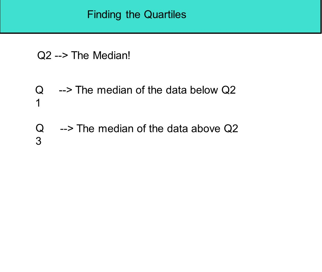 Finding the Quartiles Q2 --> The Median. Q1. --> The median of the data below Q2.